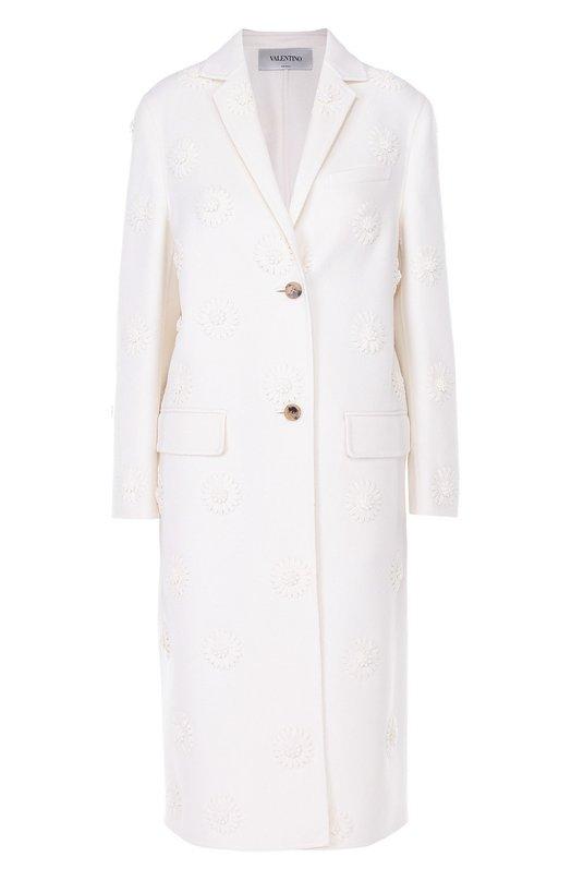 Пальто прямого кроя с фактурной цветочной отделкой Valentino MB3CA1D0/15E
