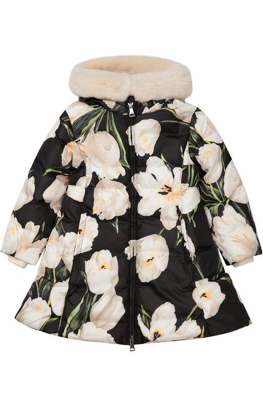 Пуховое пальто с цветочным принтом Dolce & Gabbana 0131/L5JB88/G7IKN/2-6