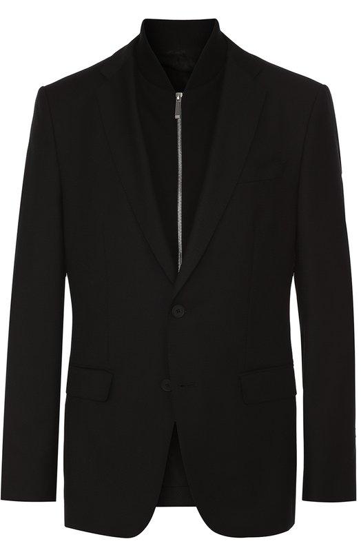 Шерстяной приталенный пиджак с декоративной подстежкой на молнии BOSS 50328107