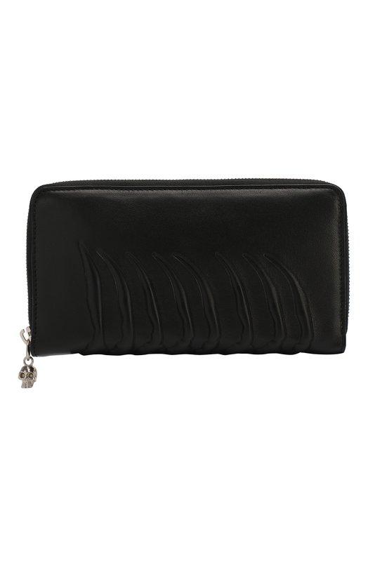 Кожаное портмоне Continental на молнии с декоративной отделкой Alexander McQueen 303743/AS00N
