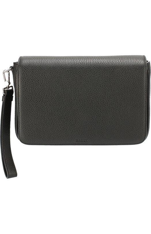 Кожаная борсетка с внешним карманом на молнии Bally STE0N