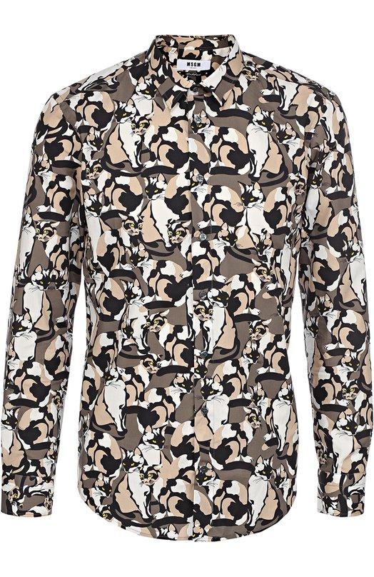 Хлопковая рубашка с принтом MSGM 2140ME26/164563