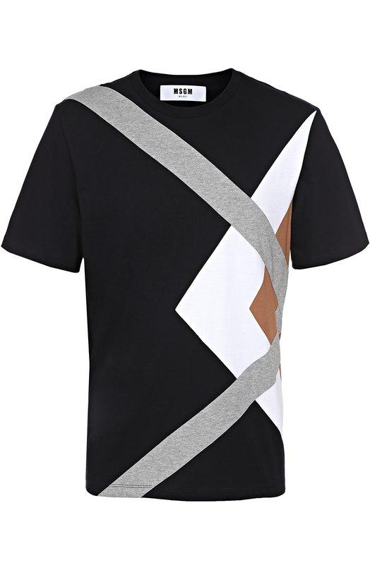 Хлопковая футболка с контрастной отделкой MSGMФутболки<br><br><br>Российский размер RU: 52<br>Пол: Мужской<br>Возраст: Взрослый<br>Размер производителя vendor: XL<br>Материал: Хлопок: 100%;<br>Цвет: Темно-синий