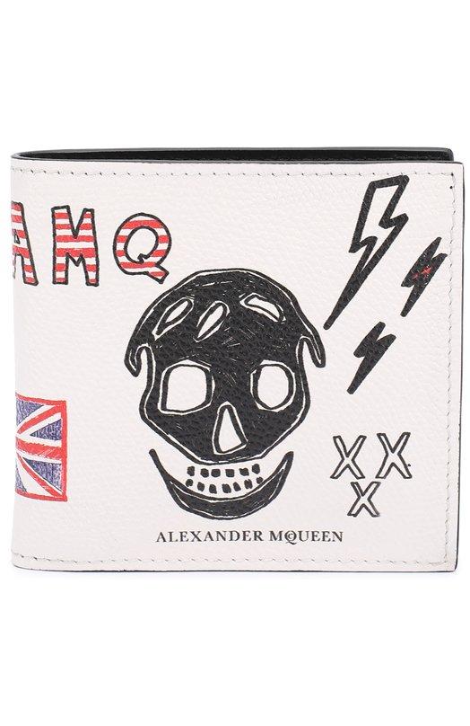 Кожаное портмоне с принтом и отделением для кредитных карт Alexander McQueen 338833/DVM0N