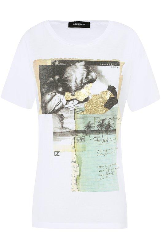 Хлопковая футболка прямого кроя с принтом Dsquared2 S75GC0836/S22844