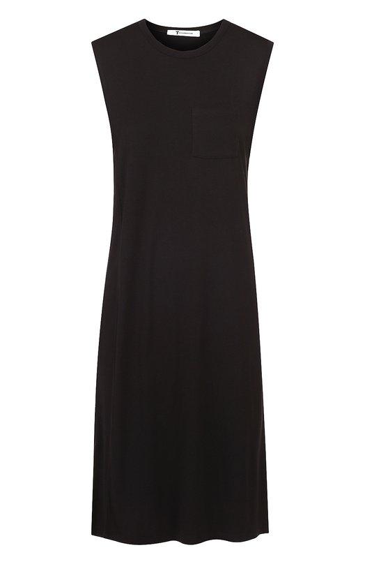 Купить Платье-миди прямого кроя без рукавов T by Alexander Wang, 400414C, Вьетнам, Черный, Вискоза: 100%;