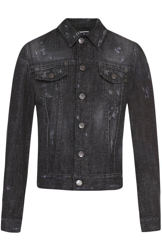 Укороченная джинсовая куртка со стразами Dsquared2 S75AM0483/S30357