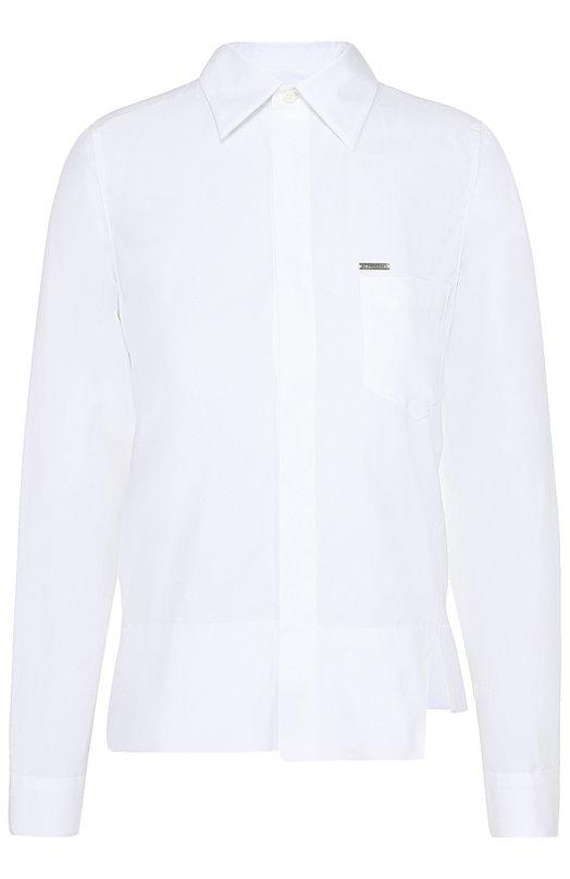 Хлопковая блуза прямого кроя с накладным карманом Dsquared2 S75DL0515/S36275