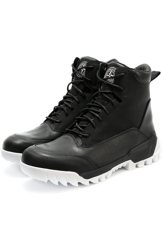 Высокие кожаные ботинки на шнуровке Stone Island 6515S0366