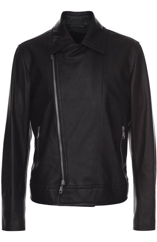 Купить Кожаная куртка с косой молнией и отложным воротником Brioni, PL05/P6717, Италия, Черный, Кожа натуральная: 100%; Подкладка-купра: 100%;