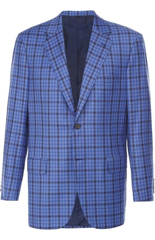 Купить Шерстяной однобортный пиджак в клетку Brioni, RGH0/P6A7V/PARLAMENT0/2, Италия, Голубой, Шерсть: 100%; Подкладка-купра: 100%;