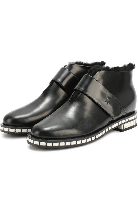 Кожаные ботинки на подошве с контрастными вставками Giorgio Armani X1M275/XG611