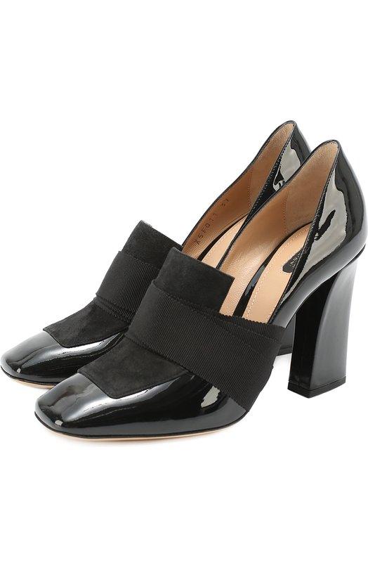 Комбинированные туфли с эластичными лентами Armani Collezioni X5F011/XG438