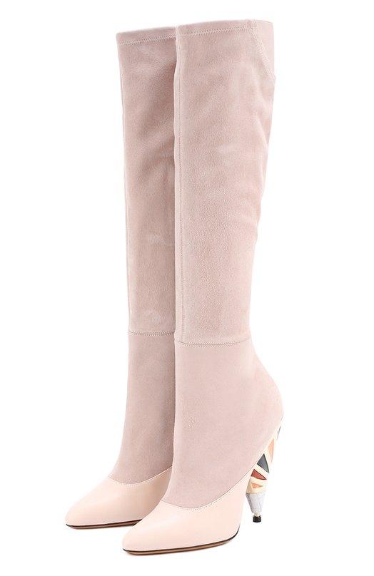 Комбинированные сапоги на декорированном каблуке Givenchy BE0/9104/178