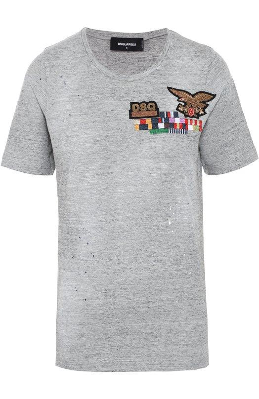 Хлопковая футболка прямого кроя с контрастной вышивкой Dsquared2Футболки<br><br><br>Российский размер RU: 44<br>Пол: Женский<br>Возраст: Взрослый<br>Размер производителя vendor: M<br>Материал: Хлопок: 100%;<br>Цвет: Серый