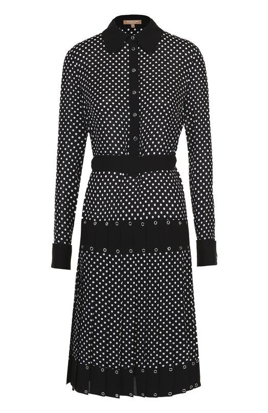 Шелковое платье-рубашка в горох с юбкой в складку Michael KorsПлатья<br><br><br>Российский размер RU: 46<br>Пол: Женский<br>Возраст: Взрослый<br>Размер производителя vendor: 8<br>Материал: Шелк: 100%;<br>Цвет: Черно-белый