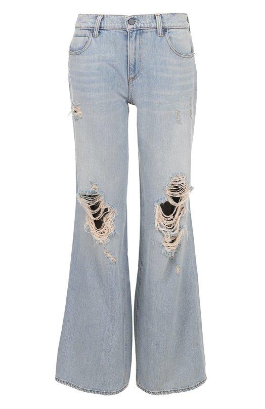 Расклешенные широкие джинсы с потертостями Denim X Alexander Wang 4137008