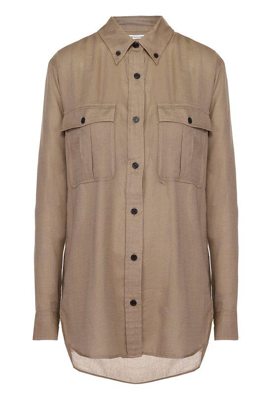 Хлопковая удлиненная блуза с накладными карманами Isabel Marant Etoile CH0195-17P017E/VEPIA