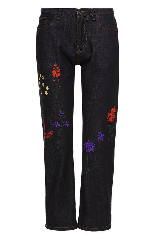 Укороченные джинсы прямого кроя с контрастной вышивкой Fendi FLP610/SA2