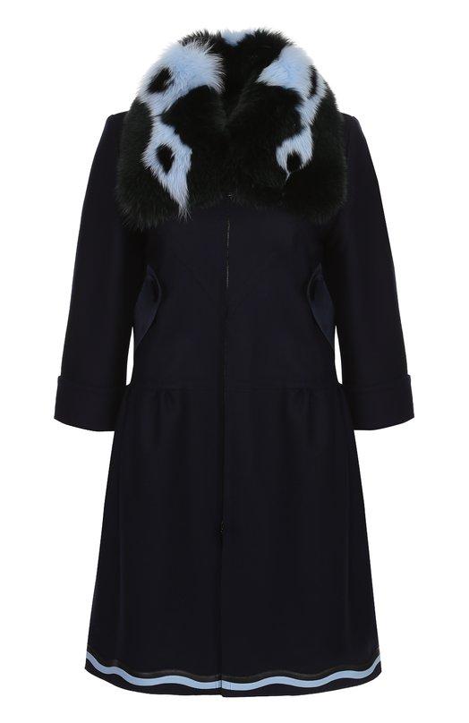 Пальто прямого кроя с укороченным рукавом и контрастной меховой отделкой Fendi FF8246/6BZ
