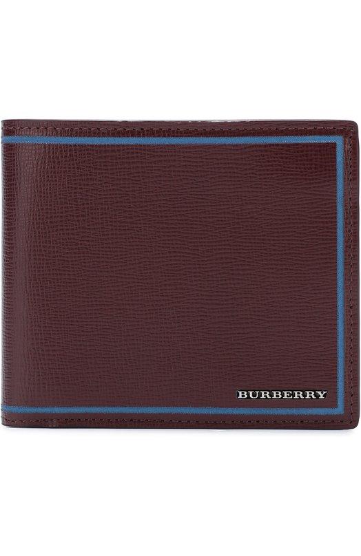 Кожаное портмоне с контрастной отделкой Burberry 4039850