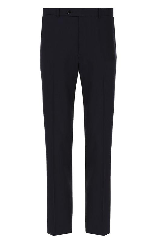Купить Шерстяные брюки прямого кроя Armani Collezioni, UCP0E0/0B006, Болгария, Темно-синий, Шерсть: 96%; Эластан: 4%; Подкладка-вискоза: 100%;