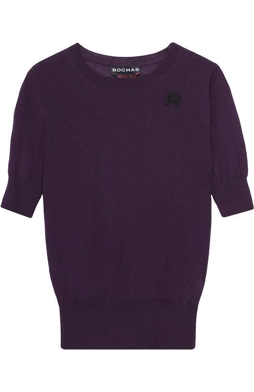 Пуловер прямого кроя с коротким рукавом и перфорацией RochasСвитеры<br><br><br>Российский размер RU: 44<br>Пол: Женский<br>Возраст: Взрослый<br>Размер производителя vendor: 42<br>Материал: Шерсть: 100%;<br>Цвет: Фиолетовый