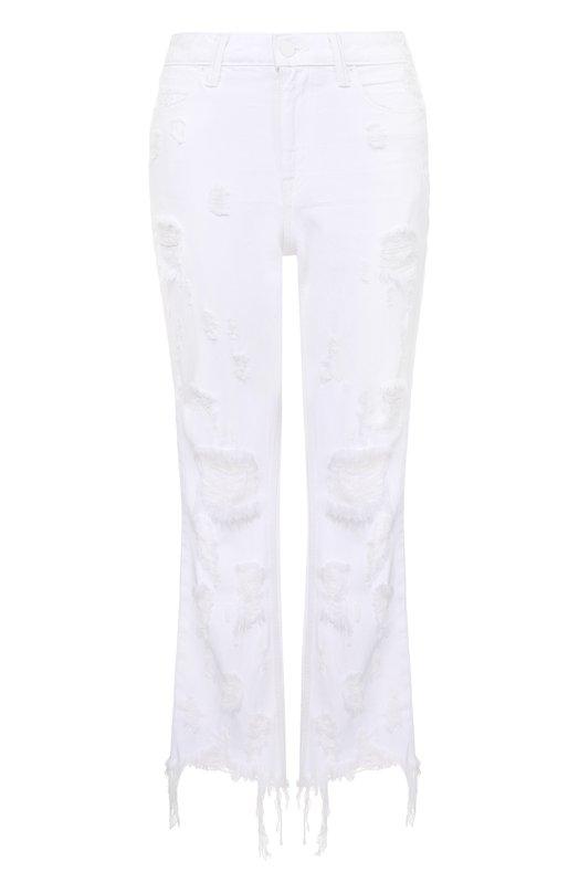 Укороченные расклешенные джинсы с потертостями и бахромой Denim X Alexander Wang 4137006