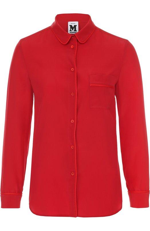 Шелковая блуза прямого кроя с накладным карманом M Missoni LD3AB150/1VH