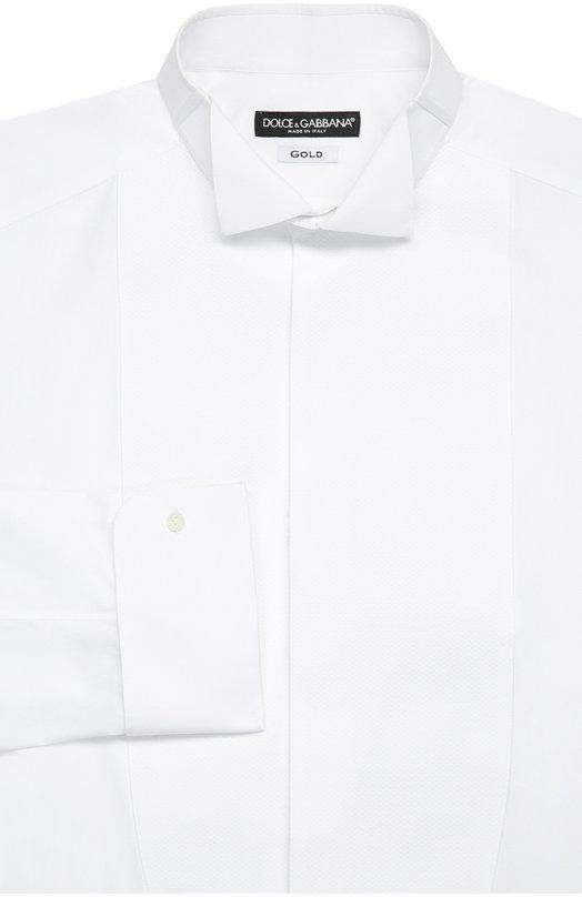 Купить Хлопковая сорочка под смокинг с воротником бабочка Dolce & Gabbana, 0101/G5D07T/FU5GK, Италия, Белый, Хлопок: 100%;