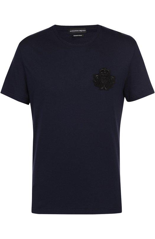 Хлопковая футболка с нашивкой Alexander McQueen 174981/QHX04