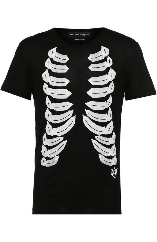 Хлопковая футболка с контрастной отделкой Alexander McQueen 427973/QHZ03