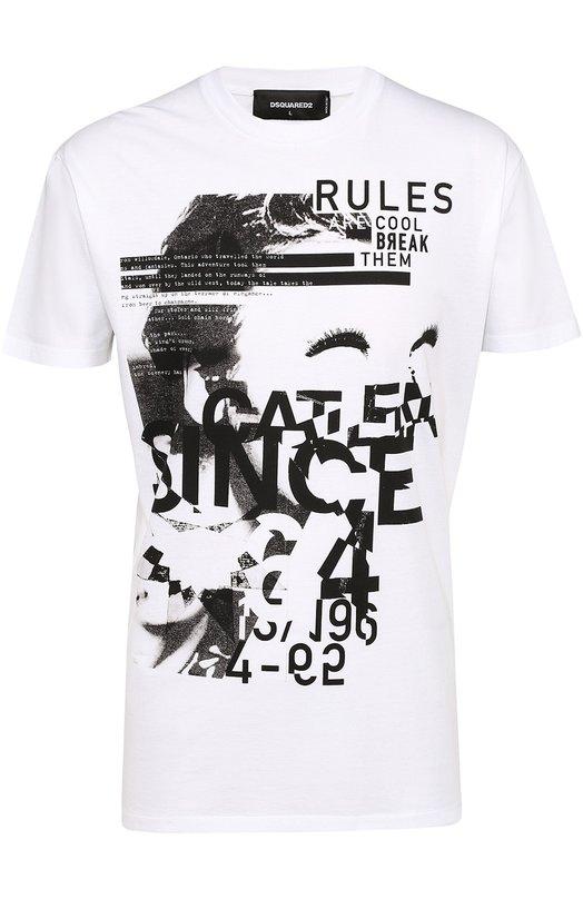 Хлопковая футболка с контрастным принтом Dsquared2 S74GD0167/S22427