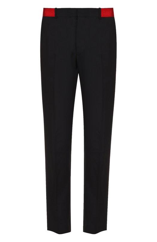 Шерстяные брюки прямого кроя с контрастным поясом Alexander McQueen 428893/QHU01