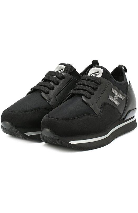 Комбинированные кроссовки на шнуровке Hogan HXW2220V620E0T