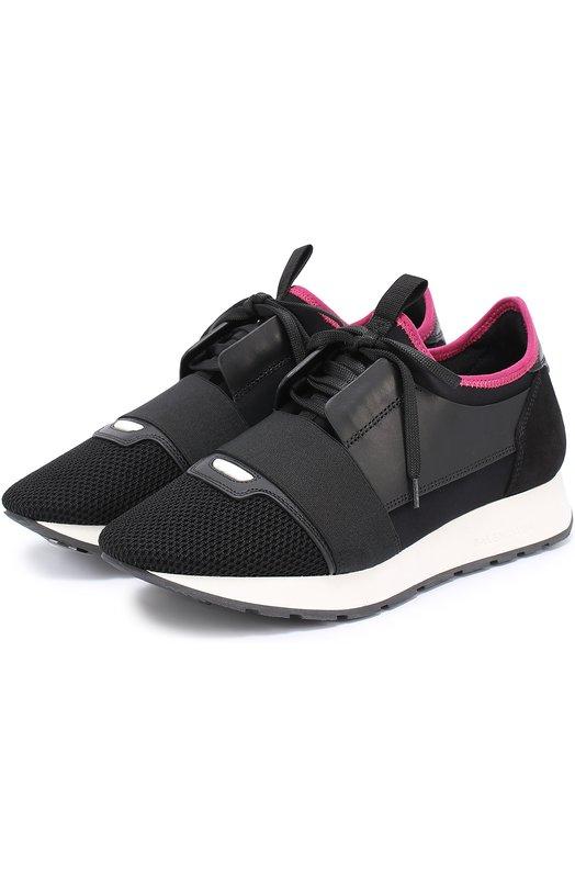 Комбинированные кроссовки с эластичной вставкой Balenciaga 454488/W0YX4