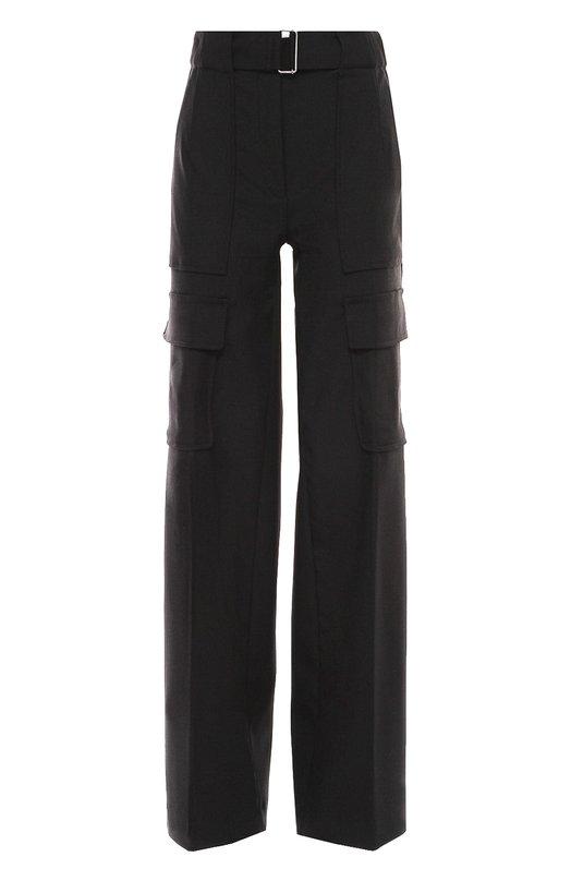 Широкие шерстяные брюки с накладными карманами и поясом Moncler B2-093-16412-00-57487