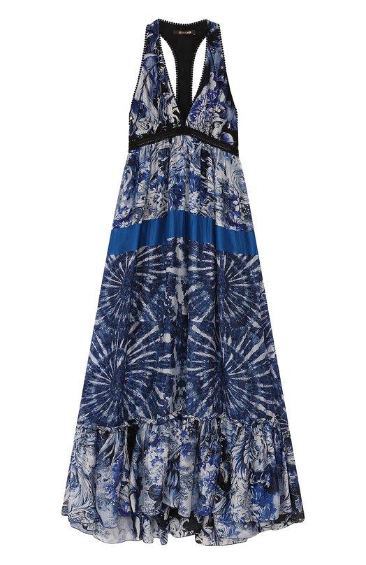 Купить Шелковое платье-макси с V-образным вырезом и открытой спиной Roberto Cavalli, EQT108/GCB36, Италия, Синий, Шелк: 100%; Подкладка-шелк: 100%;