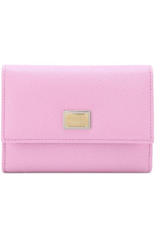 Купить Кожаное портмоне с логотипом бренда Dolce & Gabbana, 0116/BI0924/A1001, Италия, Розовый, Кожа натуральная: 100%;