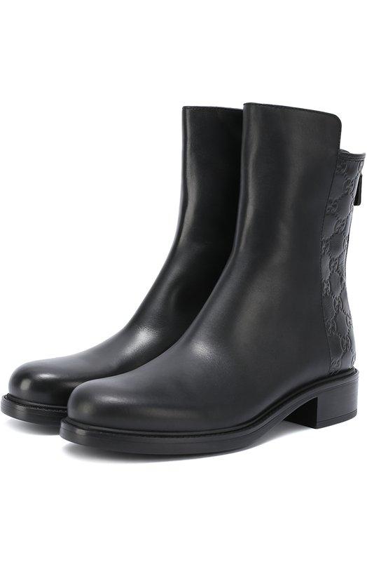 Кожаные ботинки Liza с тиснением Gucci 408212/A9L20