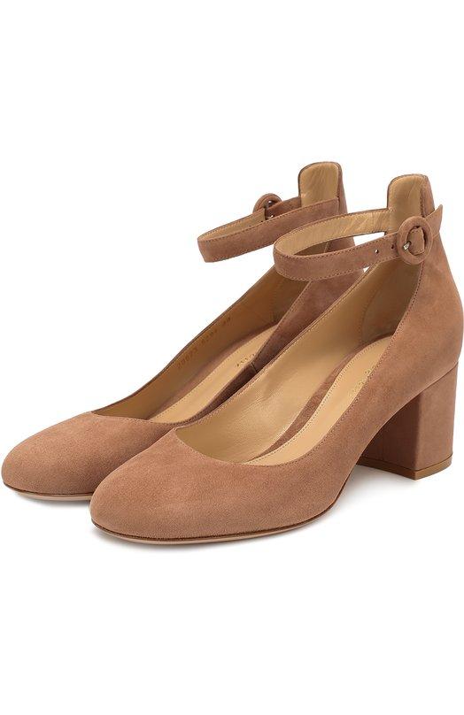 Замшевые туфли Greta с ремешком на щиколотке Gianvito Rossi Италия 5118717 G20623.60RIC.CAM  - купить со скидкой