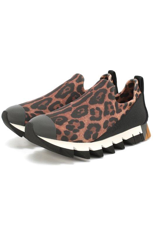 Комбинированные кроссовки Ibiza с принтом под леопарда Dolce & Gabbana 0112/CK0144/AG395