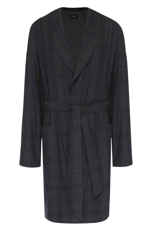 Хлопковый халат с поясом и отложным воротником Hanro 5680