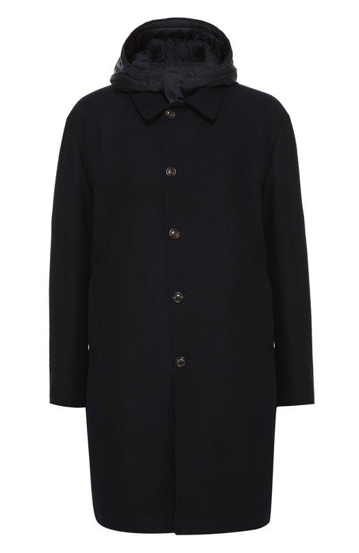 Шерстяное пальто с капюшоном и пуховым утеплителем Moncler B2-091-31402-80-57850