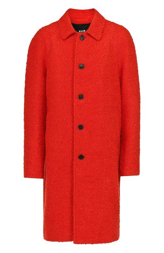 Однобортное пальто с добавлением шерсти MSGM 2140MC04/164535
