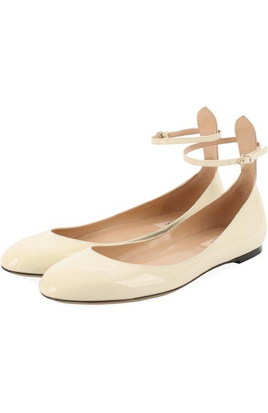 Лаковые балетки Tan-Go с ремешком на щиколотке Valentino MW1S0B53/VNE