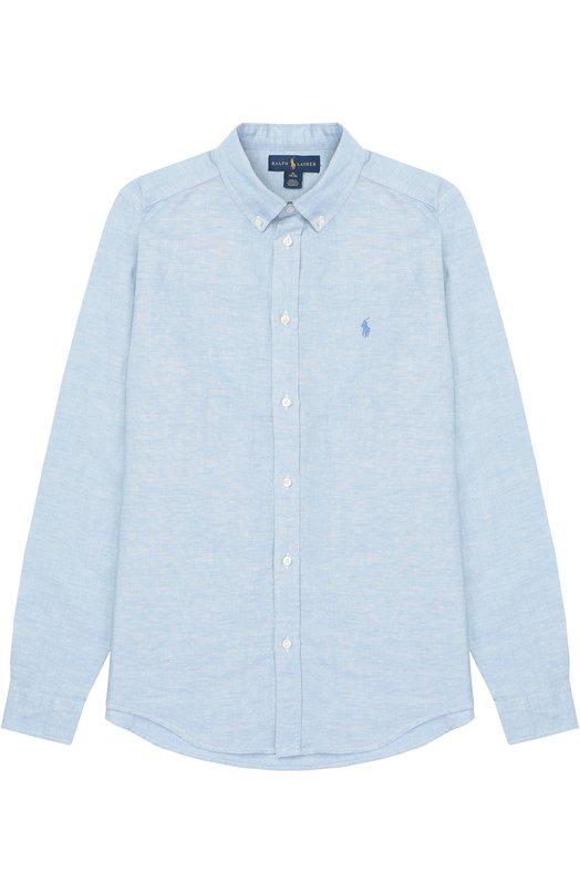 Рубашка из смеси хлопка и льна с воротником button down Polo Ralph Lauren B04/XZ1QL/XY1QL