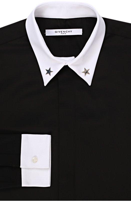 Хлопковая рубашка с контрастными манжетами Givenchy 16F/6024/300
