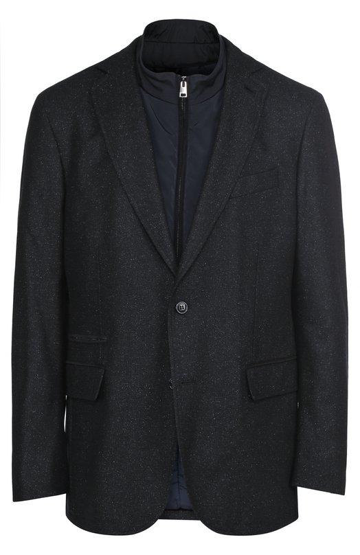 Однобортный пиджак из смеси шерсти и шелка с подстежкой Pal Zileri 83987/32H/4Z1/2