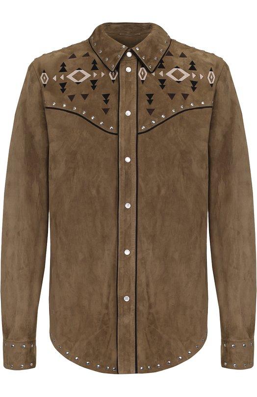 Замшевая рубашка на кнопках с декоративной отделкой Valentino LV0NG47P/3WP